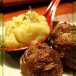 Húsgolyók rozmaringos, dióolajos krumplipürével